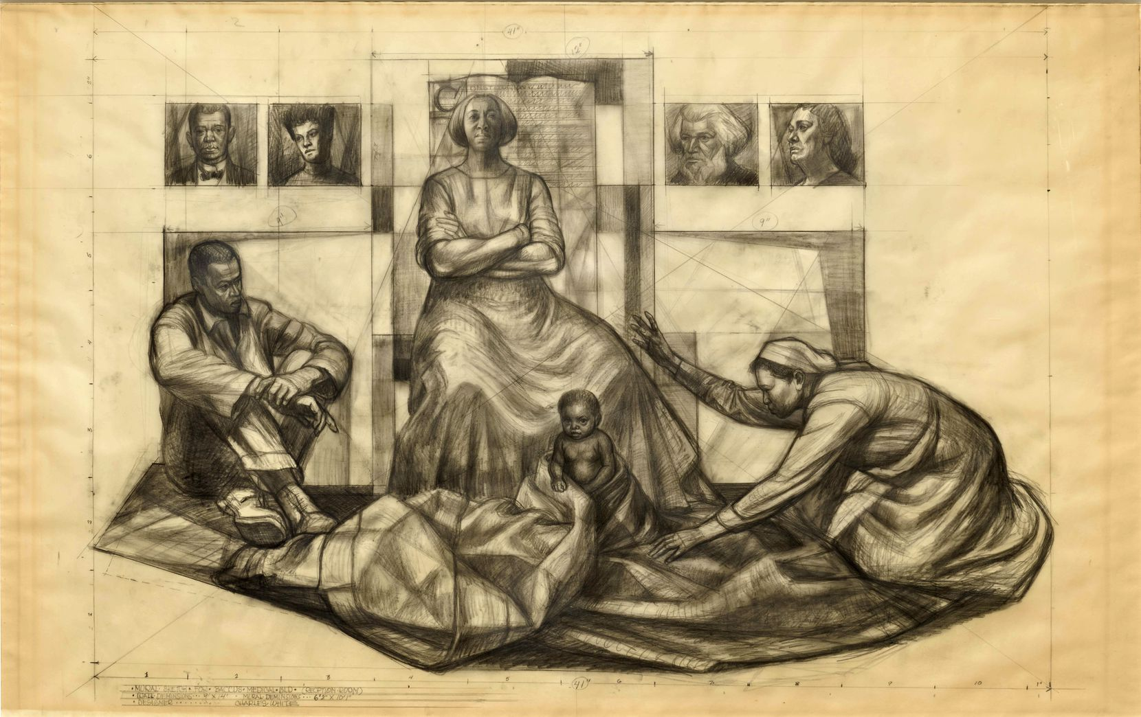 Charles White's 1961 study for a mural on the Baccus Medical Building in Dallas combines the solid dignity of the early Renaissance with the simplified geometry of Precisionism.