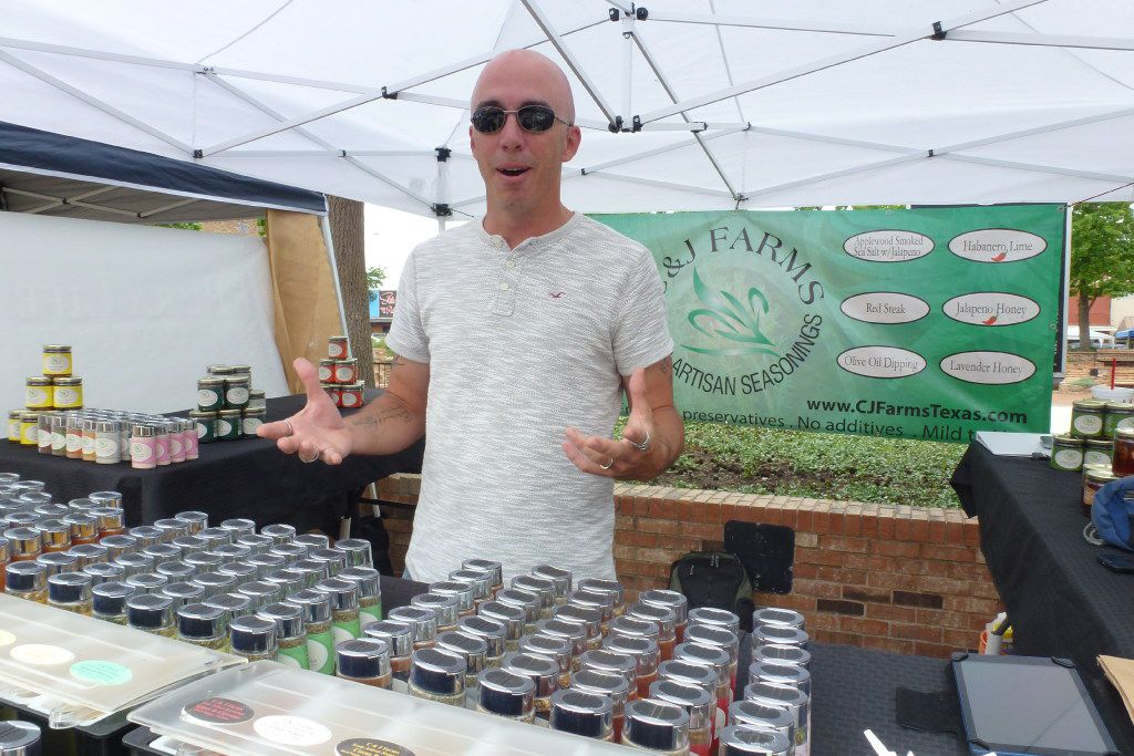 Matthew Tyler helps sell his family's C&J Farms artisan seasonings at the Mesquite and Garland Marketplaces. He also brings them to the Four Seasons Crescent Court market.