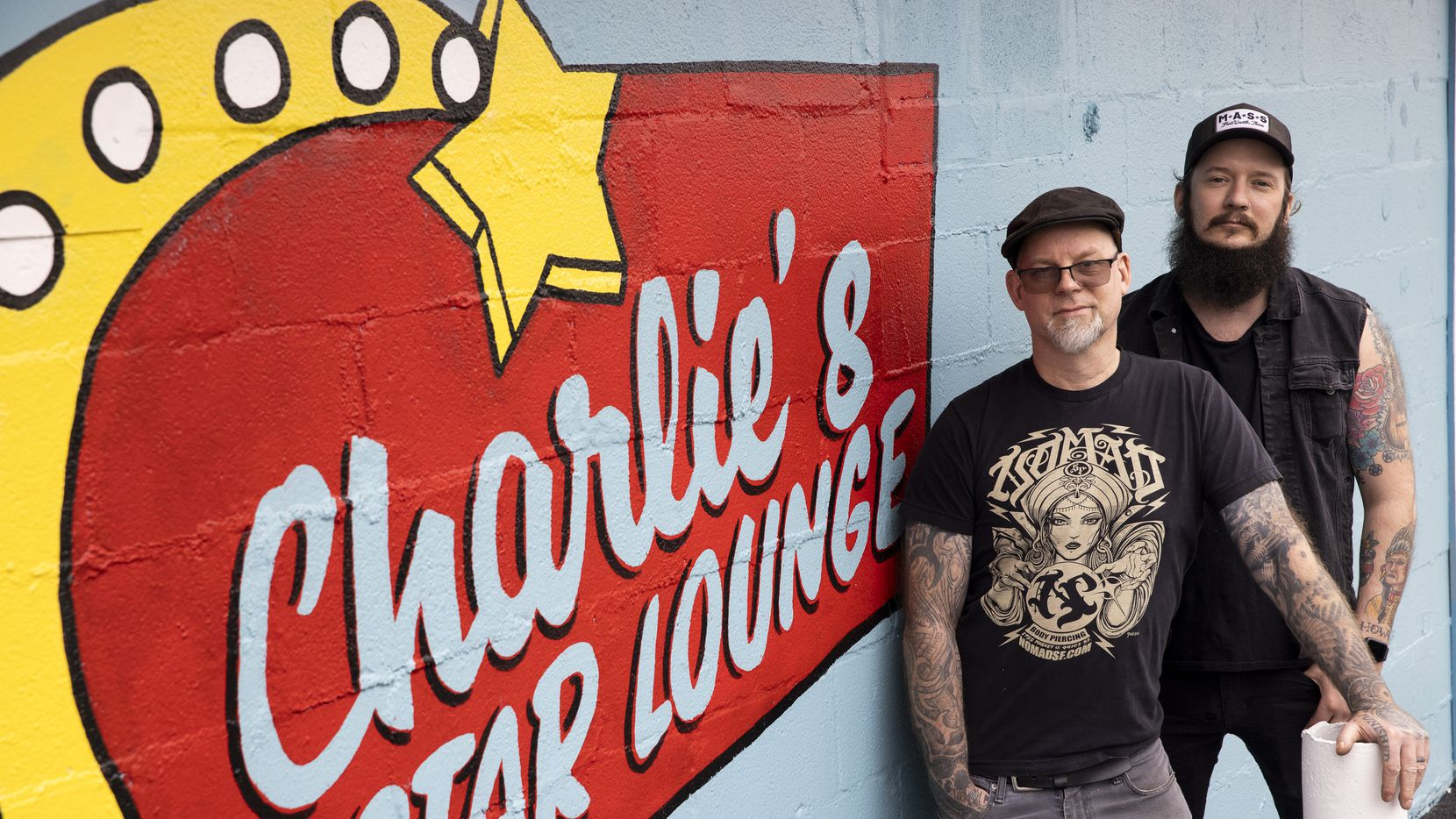 Co-owners Allen Falkner and Corey Howe, right, pose for a portrait outside of their newest venture, Charlie's Star Lounge — a dive bar opening soon in East Dallas and photographed on Thursday, April 22, 2021.