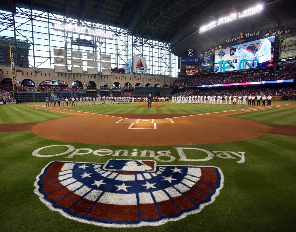 The opening day ceremonies before the Texas Rangers vs. Houston Astros season opener at Minute Maid Park in Houston on Sunday, March 31, 2013. (Louis DeLuca/The Dallas Morning News)