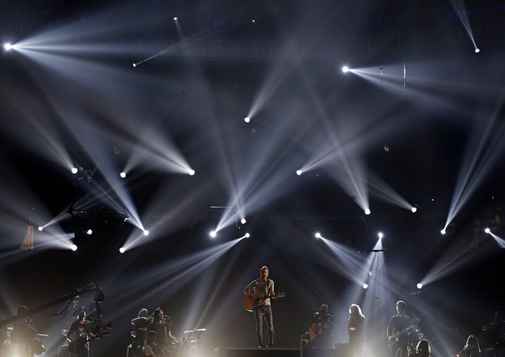 Dierks Bentley performs during the 2015 Academy of Country Music Awards Sunday, April 19, 2015 at AT&T Stadium in Arlington, Texas.