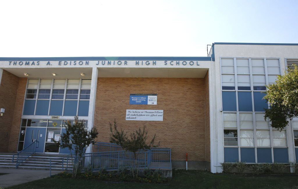 The front entrance of Thomas A. Edison Middle Learning Center in Dallas on Oct. 15, 2015. If the bond proposal passes, it will include some exterior facade enhancements of the school. Of Dallas ISD's 227 schools, 57 of them are in need of about $700 million worth of critical repairs. The $1.6 billion bond proposal that will go before voters on Nov. 3 dedicates $280 million of that amount to fixing those schools.