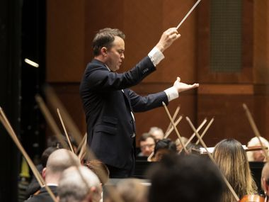 Guest conductor Garrett Keast leads the Fort Worth Symphony Orchestra in the Adagio for Strings by American composer Samuel Barber on Nov. 10, 2019. The concert also featured music by Aaron Copland and a performance of Barber's Violin Concerto by Liza Ferschtman.