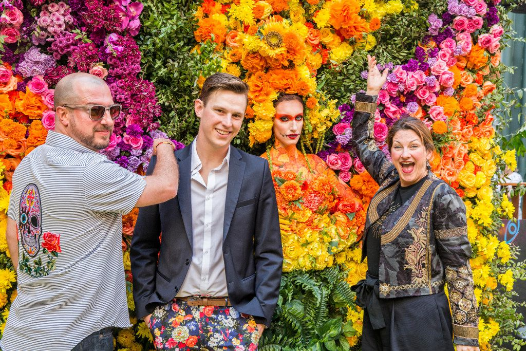 Fromm left, Larry Oliver, Lance Trachier and Sam Sano pose at the floral wall and a live model at the Eye Ball Party celebrating the Dallas Art Fair in Dallas, Saturday, April 8, 2017. (Ron Heflin/Special Contributor)