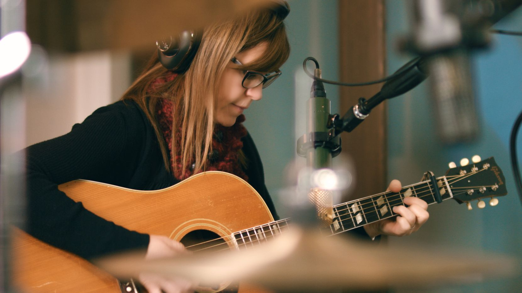 Lisa Loeb works on her new album in the recording studio. The 51-year-old is a graduate of Dallas' Hockaday School.
