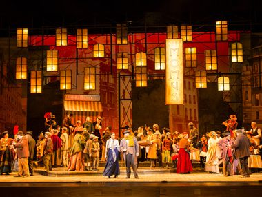 The ensemble performs in Act 2 during the final dress rehearsal of 'La Bohème' presented by the Dallas Opera at the Winspear Opera House at the AT&T Performing Arts Center in Dallas on March 12, 2019.