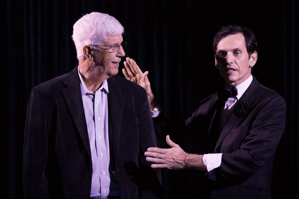 Former head coach of the Dallas Mavericks Del Harris participates on stage in the magic performance with Magician Zabrecky at the Peacock Theater.