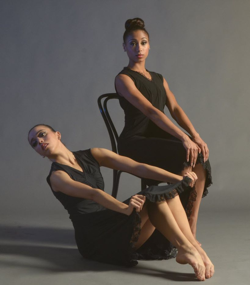 Alyssa Harrington (foreground) and Jasmine Black in Vespers at Dallas Black Dance Theatre. For the upcoming AKA:ballet show, Harrington is choreographing a duet for her and Addison Ector of New York's Complexions Contemporary Ballet.