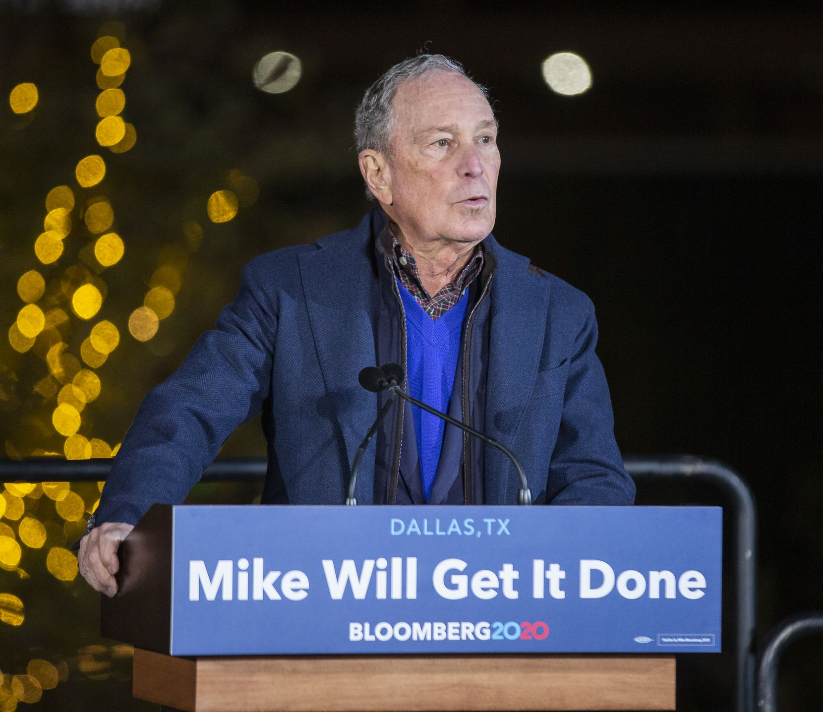 Presidential candidate and former New York Mayor Mike Bloomberg campaigns at the Happiest Hour on Saturday in Dallas. (Juan Figueroa/ The Dallas Morning News)