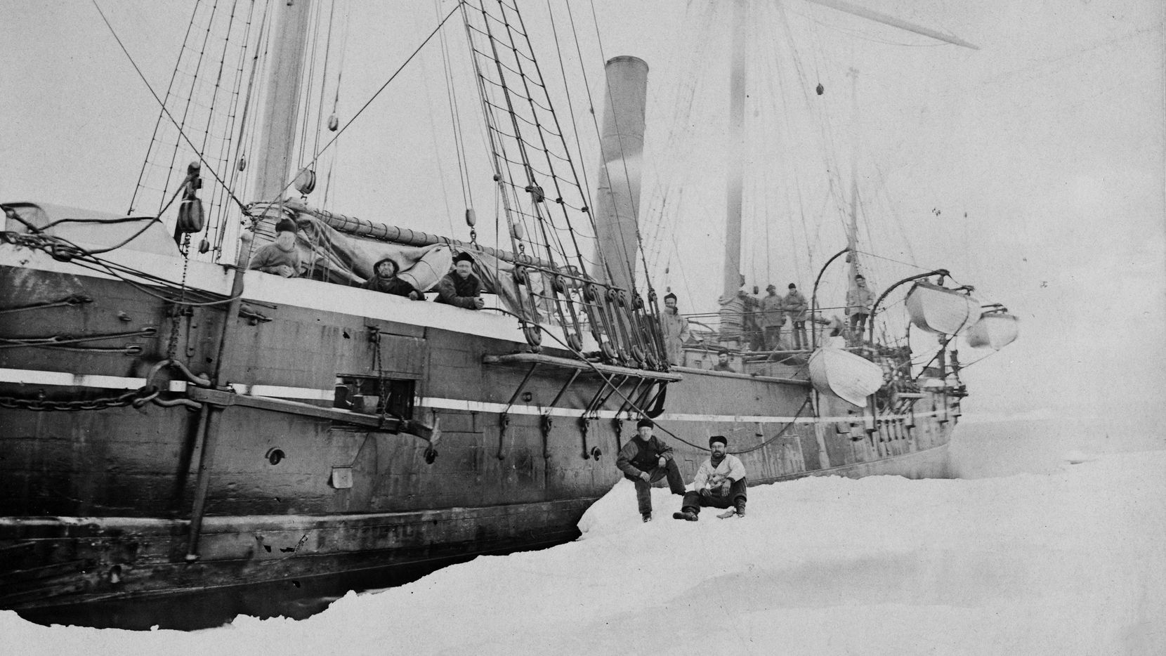 The Jeanette, then known as the Pandora, photographed in Greenland in the mid-1870s. From 'In the Kingdom of Ice,' by Hampton Sides.