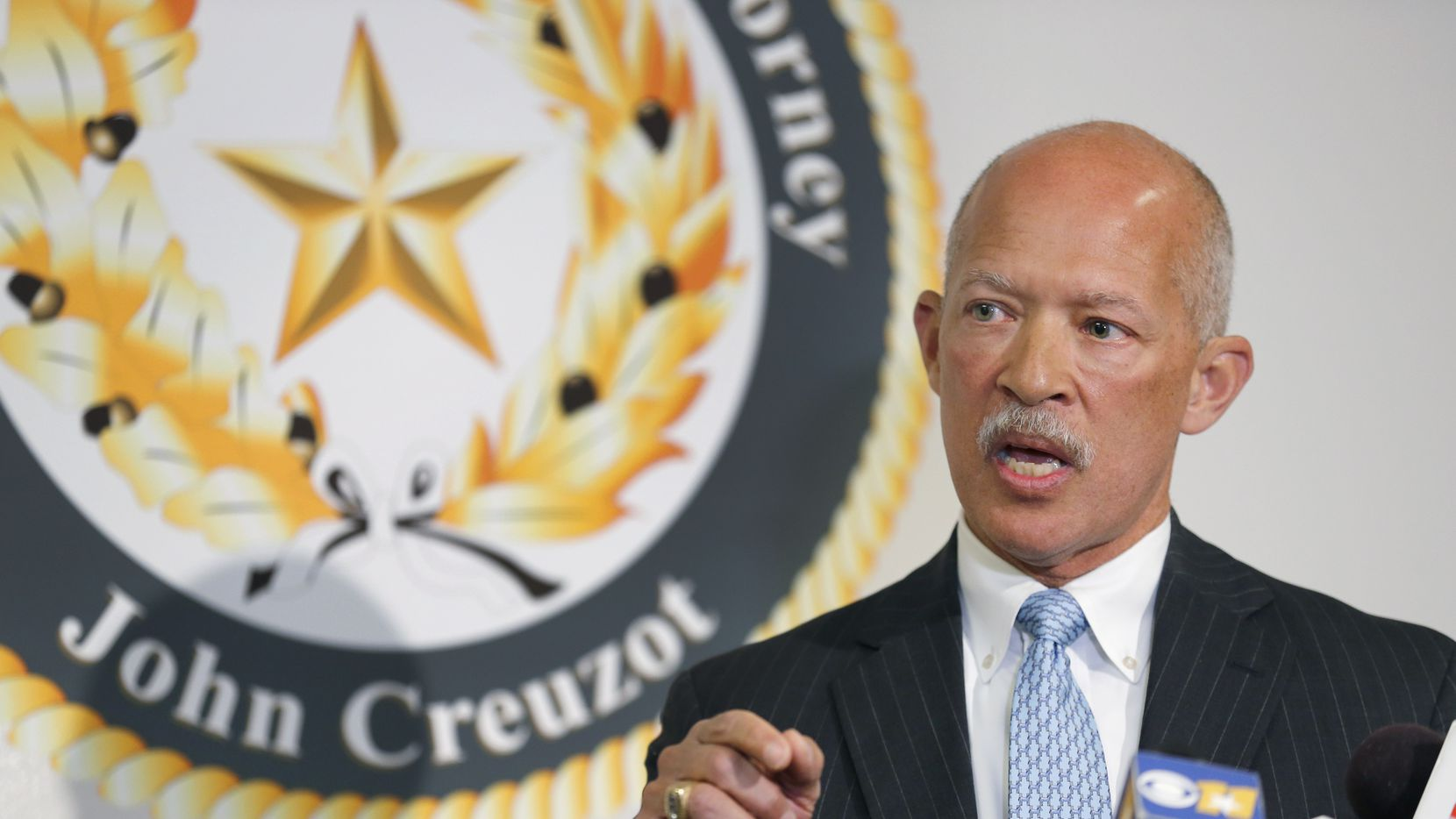 Dallas County District Attorney John Creuzot speaks about the dismissal of Judge Tammy Kemp's gag order in the Amber Guyger trial during a press conference at the Frank Crowley Courts Building in Dallas, Wednesday, January 8, 2020. Creuzot is going to eliminate gag orders for cases tried at the Courthouse. (Tom Fox/The Dallas Morning News)