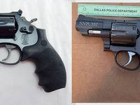 The Dallas Police Department released this image of the replica handgun a man pointed at police before being fatally shot by officers on April 19, 2021. The image on the right is the replica gun, and the image of the left is a real Smith and Wesson revolver.