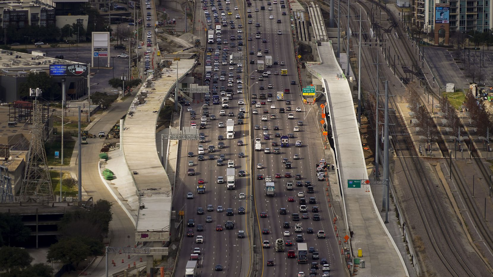 A view of Stemmons Freeway traffic looking north from Reunion Tower in December.