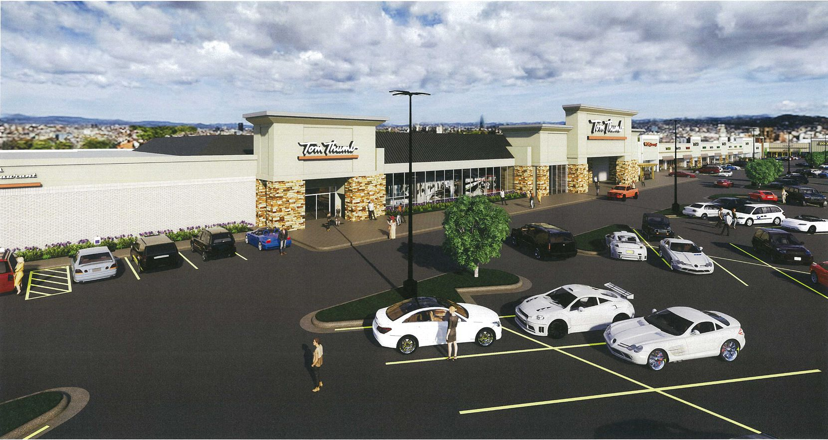 Fielder Plaza is anchored by a Tom Thumb supermarket.
