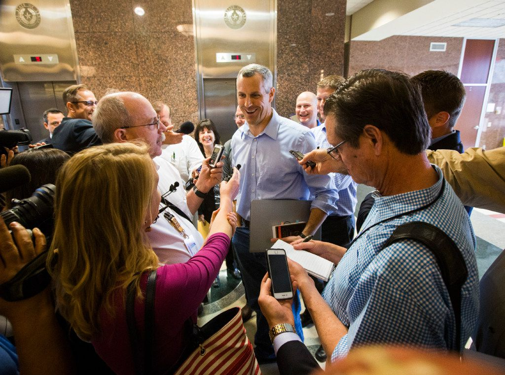 Rep. Matt Schaefer, chair of the Freedom Caucus, answers reporters' questions after the House Republican Caucus meeting. (Ashley Landis/The Dallas Morning News)