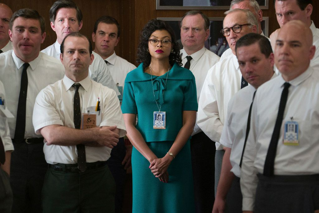 """Taraji P. Henson plays Katherine Johnson, center, in a scene from """"Hidden Figures.""""  Henson failed to receive an Oscar nomination, Tuesday, Jan. 24, 2017, for her role in the film."""