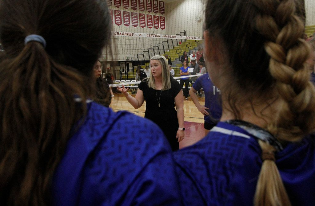 Trophy Club Byron Nelson head coach Brianne Groth shares words of encouragement and praise following the Bobcats' victory over Coppell in straight sets, 25-14, 25-21, 25-11, to advance. The two teams played their first-round Class 6A volleyball playoff match at Keller Central High School in Fort Worth on November 5, 2019. (Steve Hamm/ Special Contributor)