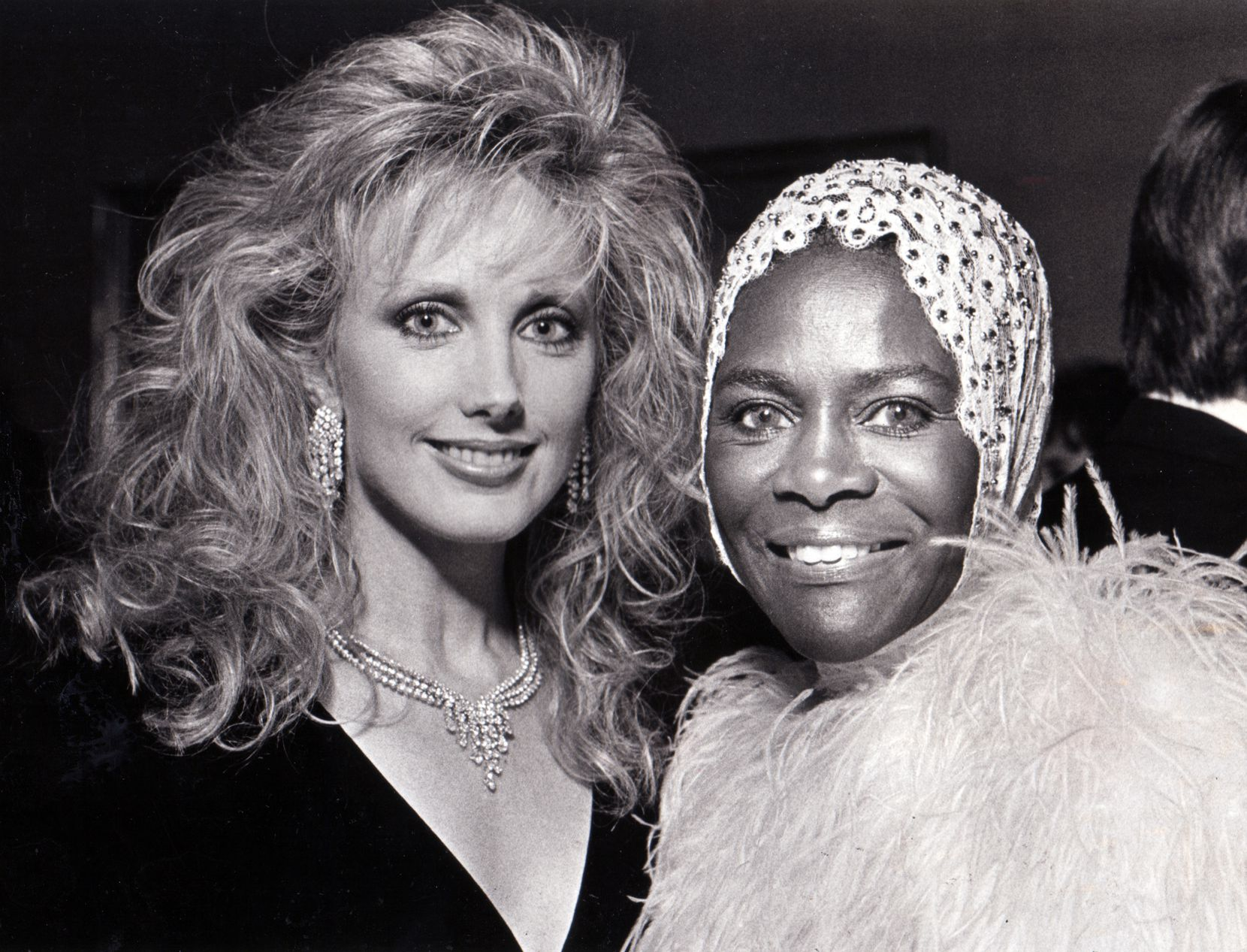 Morgan Fairchild (left) and Cicely Tyson are seen in this October 25, 1987 party photo.