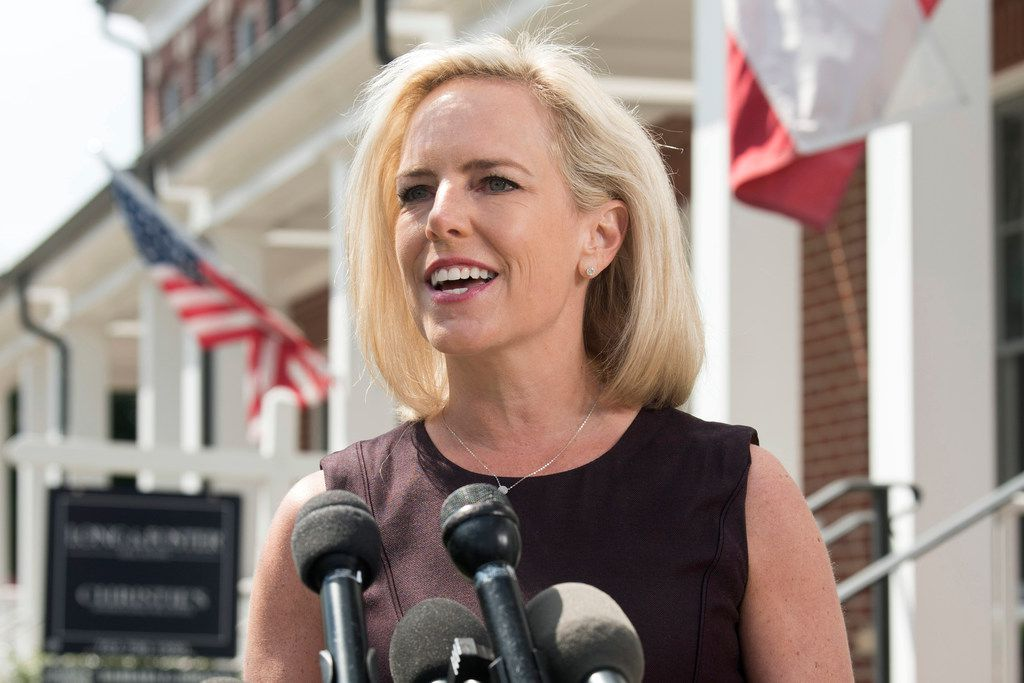 Kirstjen Nielsen talks outside her home in Alexandria, Va., on April 8, 2019. Nielsen says she continues to support the president's goal of securing the border in her first public remarks since her surprise resignation as Homeland Security secretary. (AP Photo/Kevin Wolf)