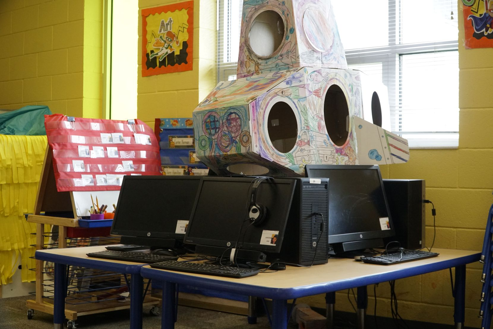 The Fort Worth school district had a recent malware attack that could complicate the district's efforts to provide online instruction to students. Shown here are computers at the Leadership Academy at John T. White Elementary School in Fort Worth.
