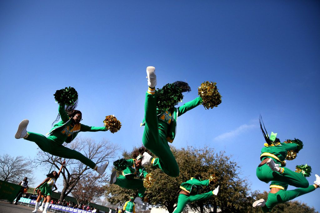 Cheerleaders from James Madison High School perform during the Martin Luther King, Jr. Parade on Martin Luther King, Jr. Day in Dallas.