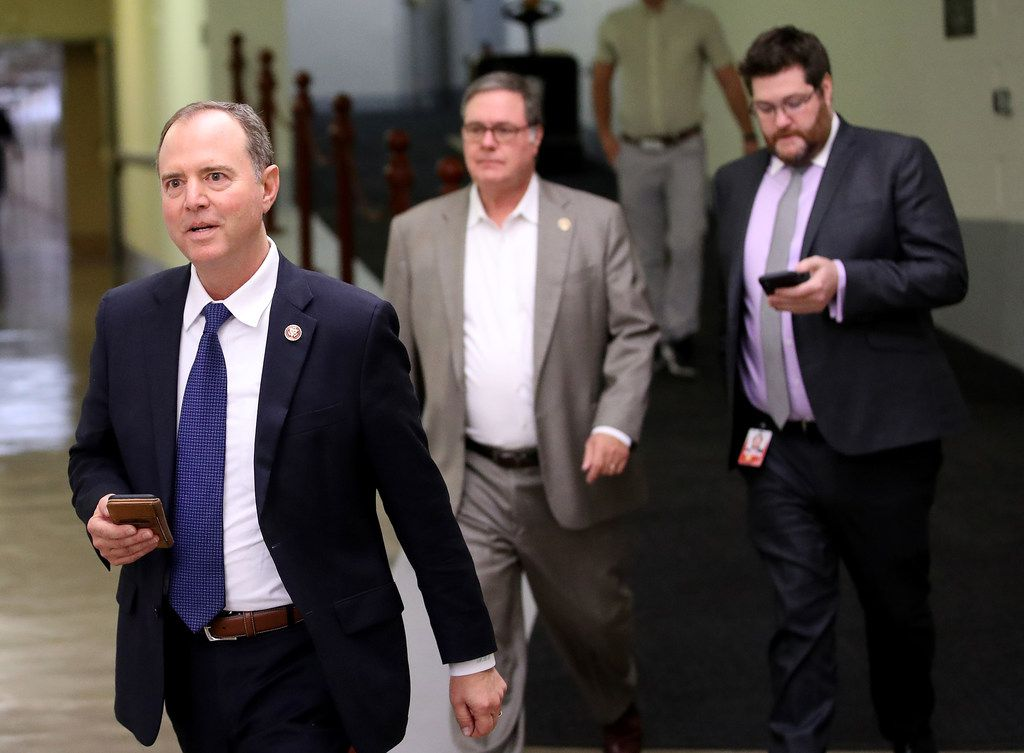 Rep. Adam Schiff, chairman of the House intelligence committee, walks to a meeting with Michael Atkinson, Inspector General of the Intelligence Community, on October 4, 2019.