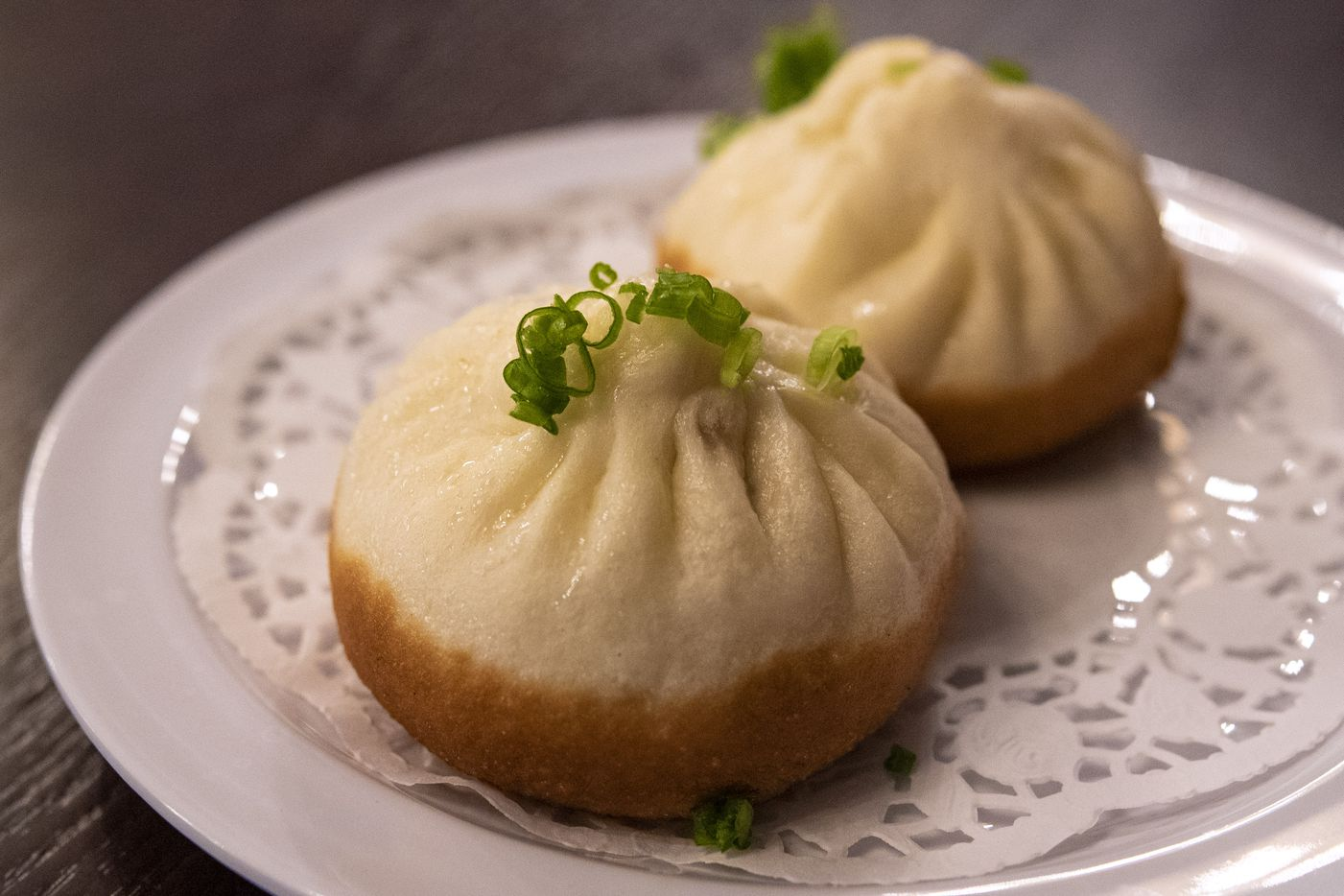 A bun dumpling with pork and scallions from Kitchen Master in Frisco, Sunday, May 31, 2020.