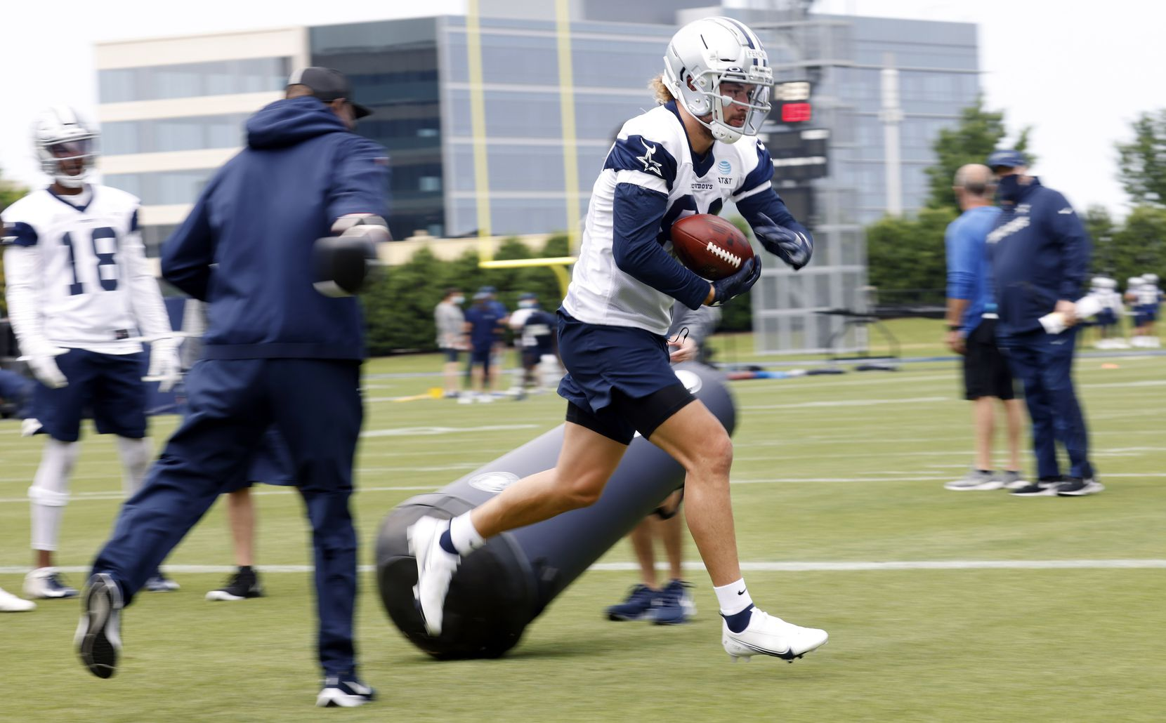 Dallas Cowboys rookie wide receiver Simi Fehoko (81) carries the ball during a rookie minicamp drill at the The Star in Frisco, Texas, Friday, May 14, 2021. (Tom Fox/The Dallas Morning News)