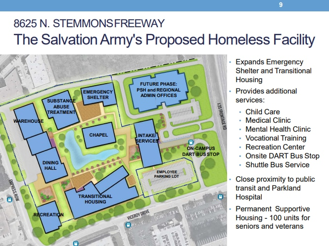 A map of the proposed facility presented to a Dallas City Council committee