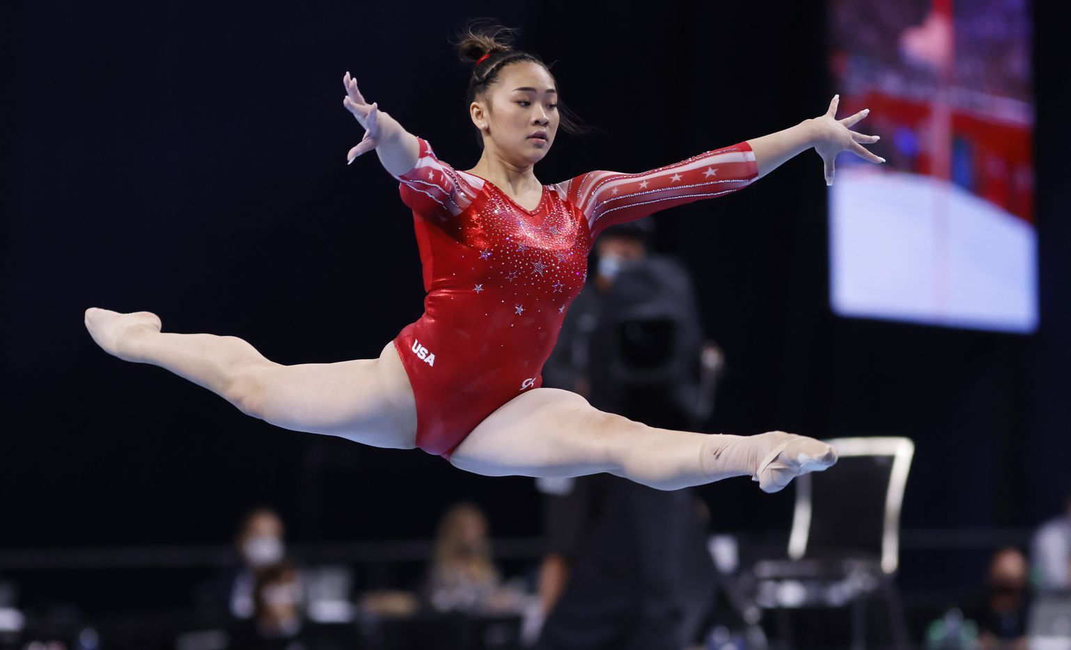 Sunisa Lee during her floor routine during day 2 of the women's 2021 U.S. Olympic Trials at The Dome at America's Center on Saturday, June 27, 2021 in St Louis, Missouri.(Vernon Bryant/The Dallas Morning News)