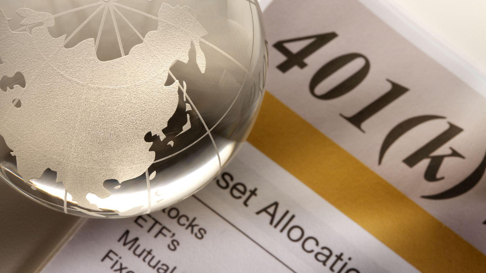 A globe showing Asia on a 401k statement.