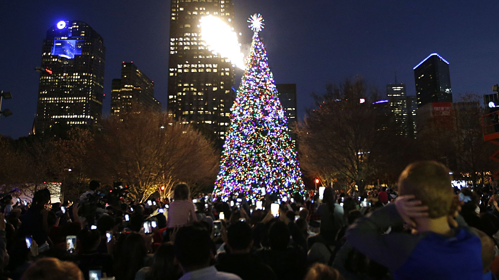 Fireworks go off during the Klyde Warren Park tree lighting in 2018.
