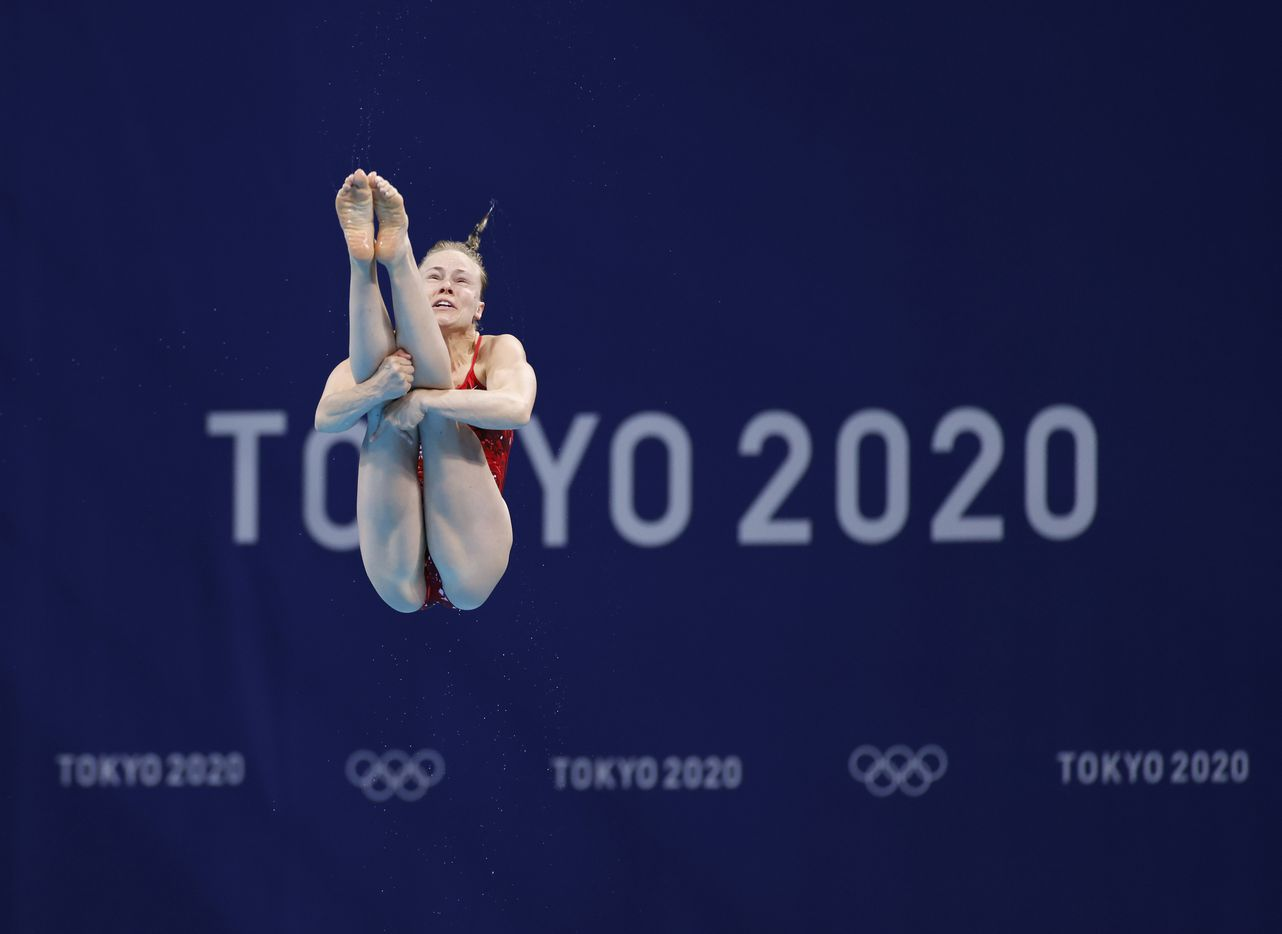 USA's Krysta Palmer dives in round 4 of 5 In the women's 3 meter springboard semifinal competition during the postponed 2020 Tokyo Olympics at Tokyo Aquatics Centre, on Saturday, July 31, 2021, in Tokyo, Japan. Palmer finished the day in 5th place with a score of 316.65 to qualify for the next round. (Vernon Bryant/The Dallas Morning News)