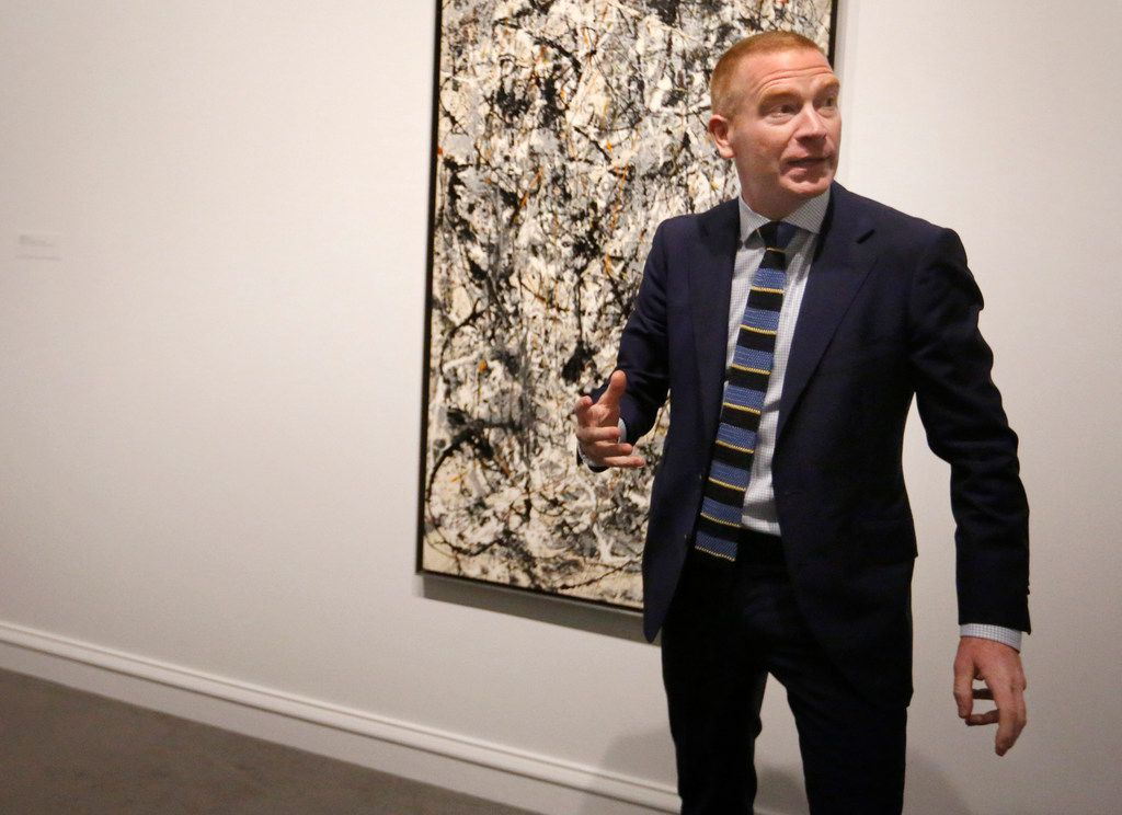Dallas Museum of Art curator Gavin Delahunty led members of the news media through a preview in November 2015 of the Jackson Pollock: Blind Spots exhibit.