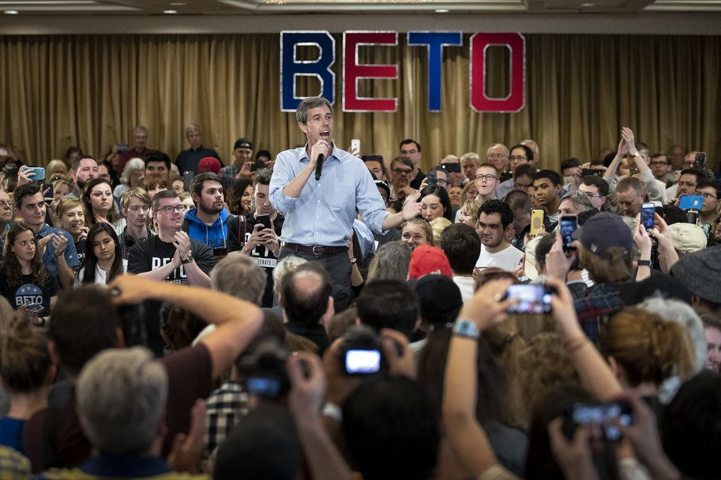 Beto O'Rourke campaigns April 17, 2019 at the Crowne Plaza hotel in Alexandria, Va.