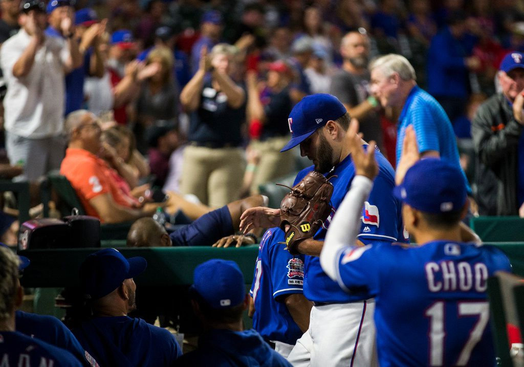 Texas Rangers starting pitcher Lance Lynn (35) returns to the dugout after the seventh inning of an MLB game between the Texas Rangers and the Seattle Mariners on Tuesday, May 21, 2019 at Globe Life Park in Arlington. (Ashley Landis/The Dallas Morning News)