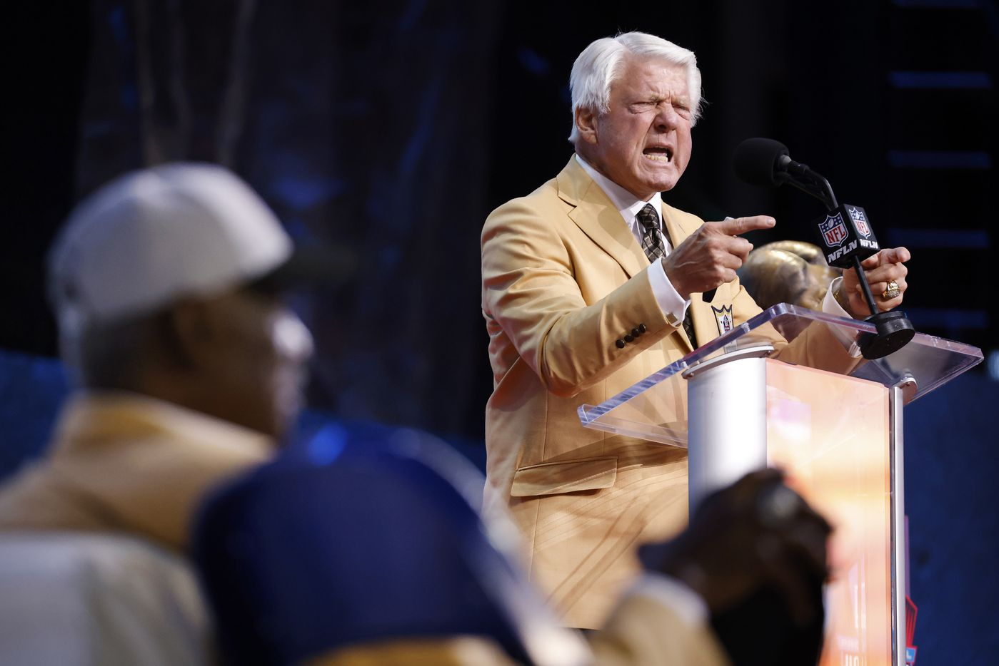 Pro Football Hall of Fame inductee Jimmy Johnson of the Dallas Cowboys delivers his speech during the Centennial Class of 2020 enshrinement ceremony at Tom Benson Hall of Fame Stadium in Canton, Ohio, Saturday, August 7, 2021. (Tom Fox/The Dallas Morning News)