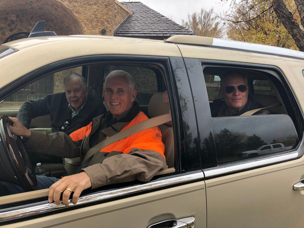 Vice President Mike Pence drove while T. Boone Pickens rode shotgun and Ross Perot Jr. sat in back during a post midterm election respite at Pickens' Mesa Vista Ranch on Nov. 9, 2018.
