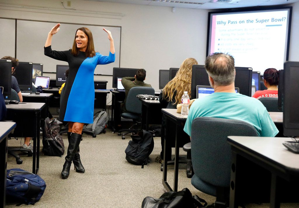 UTA marketing professor Traci Freling teaches students about Super Bowl ads Thursday in her Integrated Marketing Communications and Advertising class at the University of Texas at Arlington. They spoke about the successes and failures of advertisements during Super Bowl Sunday. She does a full preview of advertising and a post game analysis.