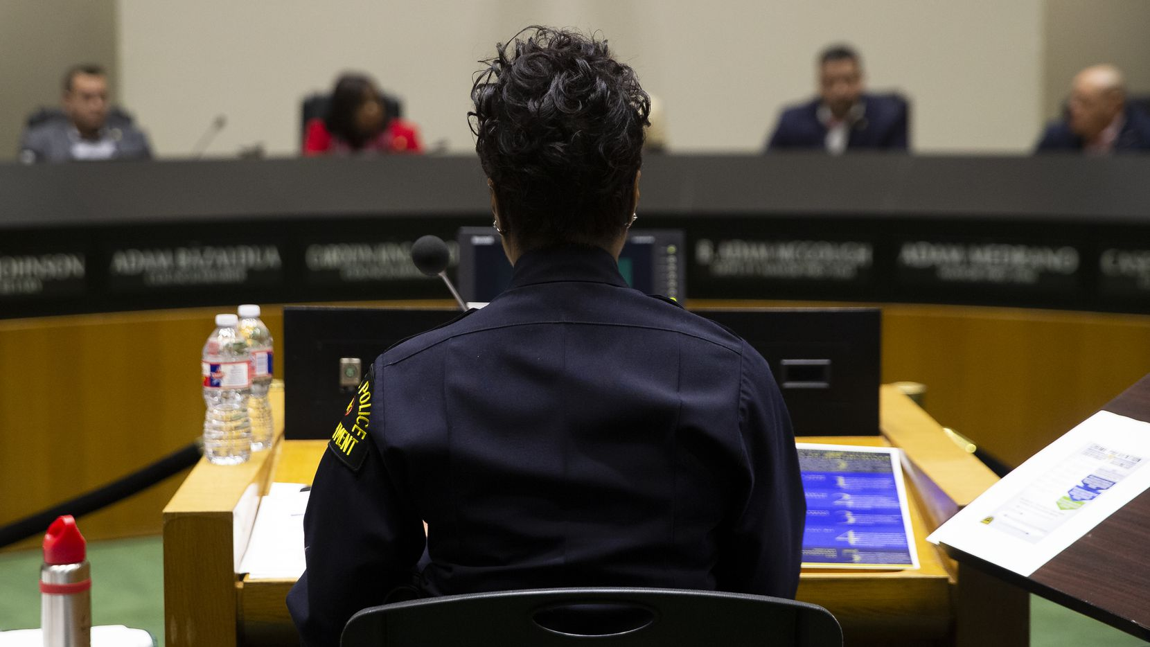 Dallas Police Chief U. Renee Hall (center) at the council's Public Safety Committee meeting at Dallas City Hall on Jan. 13, 2020 in Dallas. The council discussed the chief's 26-page report on crime reduction strategies for 2020.