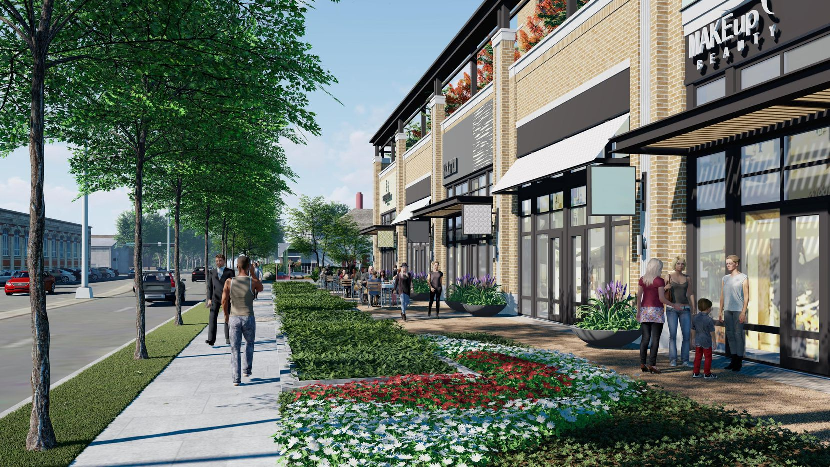 New retail space with a rooftop terrace would be built along Oak Lawn Avenue.