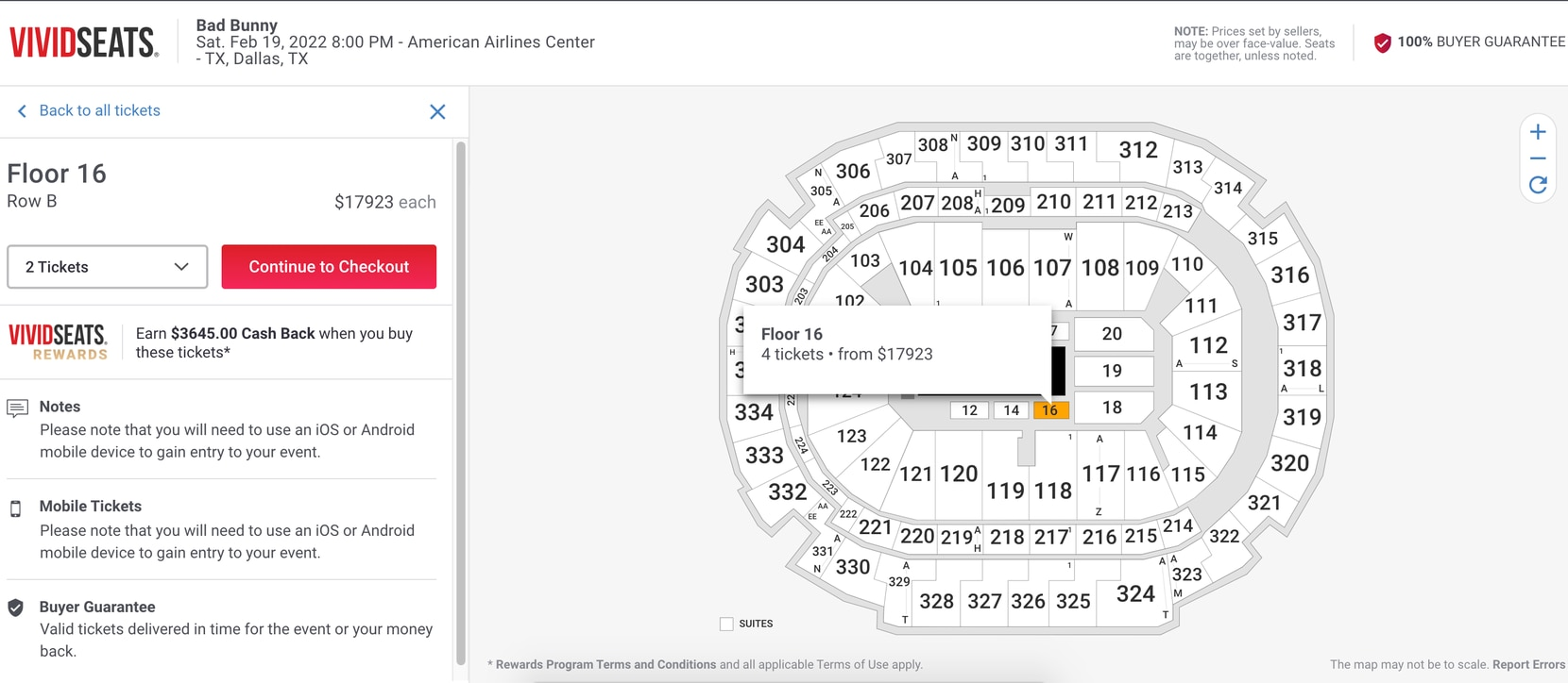 A screenshot from VividSeats shows tickets being resold for up to nearly $18,000 at American Airlines Center.