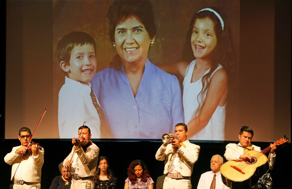 Mariachis Michoacan perform at the memorial service for longtime DMN columnist Mercedes Olivera, who focused on telling stories in the Latino communities of DFW, photographed on Aug. 1, 2018. (Louis DeLuca/The Dallas Morning News)