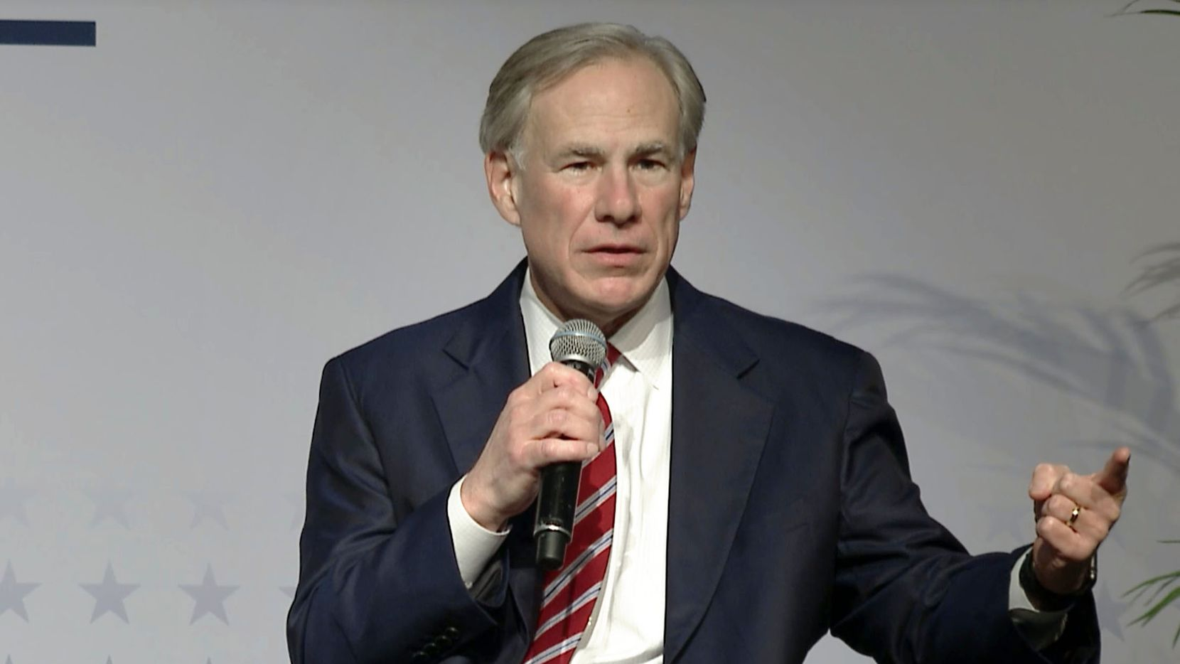 In this screen grab, Texas Governor Greg Abbott (right) speaks during a plenary keynote conversation during the Texas Public Policy Foundation's Policy Orientation event at the AT&T Conference Center in Austin, Texas, on Thursday, Jan. 14, 2021.