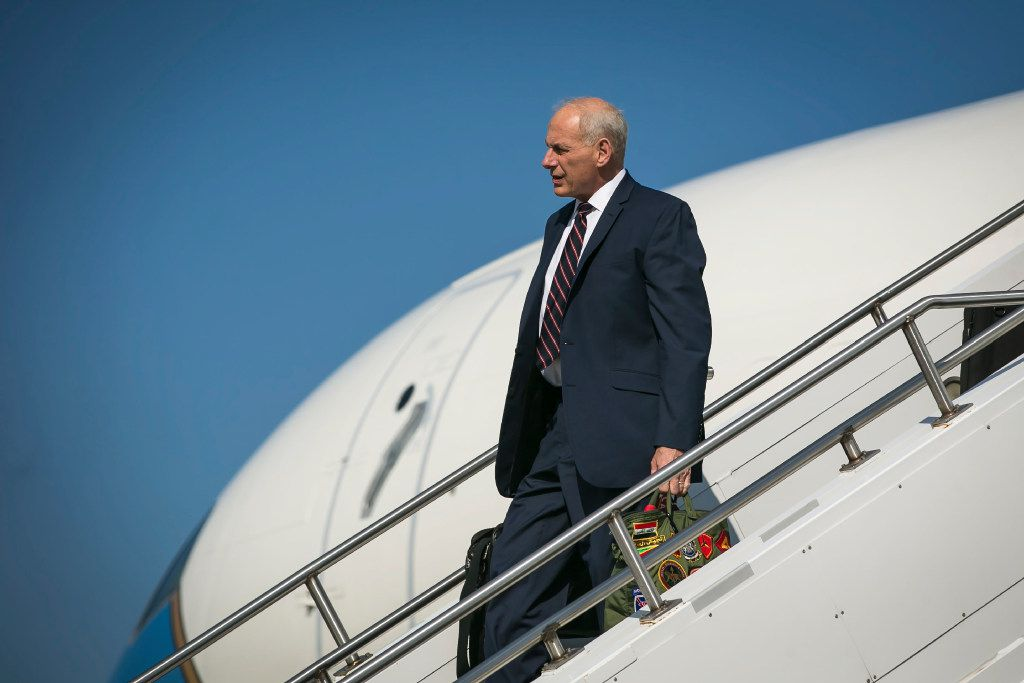 Gen. John Kelly, White House chief of staff, arrived on Air Force One at Morristown Municipal Airport in Morristown, N.J., as President Donald Trump began his summer vacation at his Bedminster golf club last week.