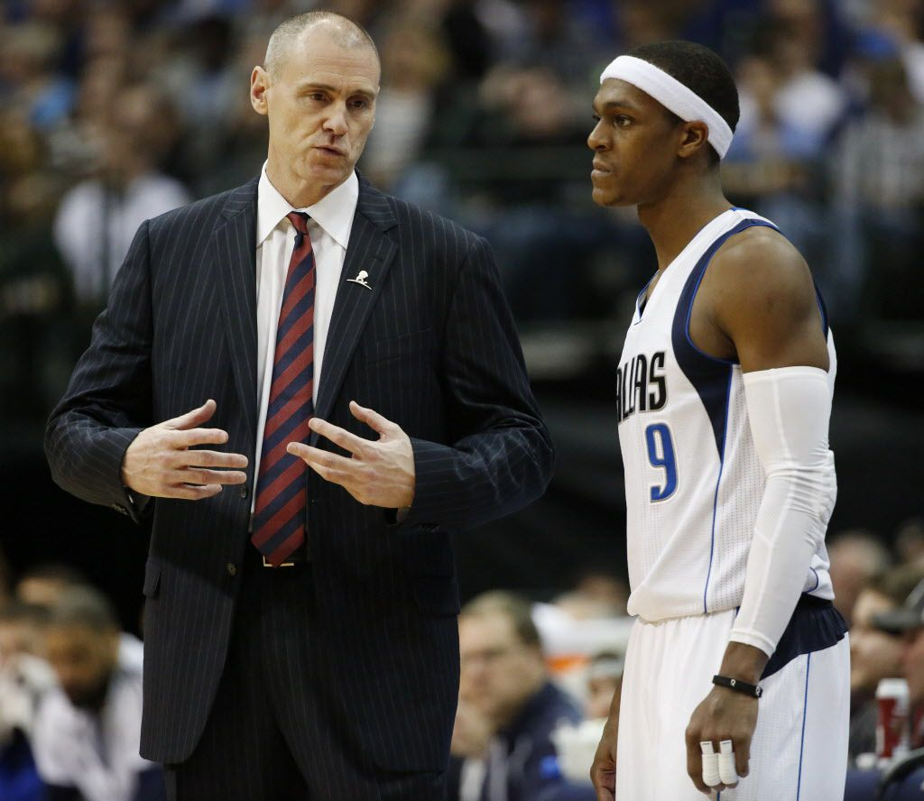Dallas Mavericks head coach Rick Carlisle speaks to guard Rajon Rondo (9) in the second half during a National Basketball Association game between the Los Angeles Lakers and the Dallas Mavericks at the American Airlines Center in Dallas Friday December 26, 2014. The Dallas Mavericks beat the Los Angeles Lakers 102-98.