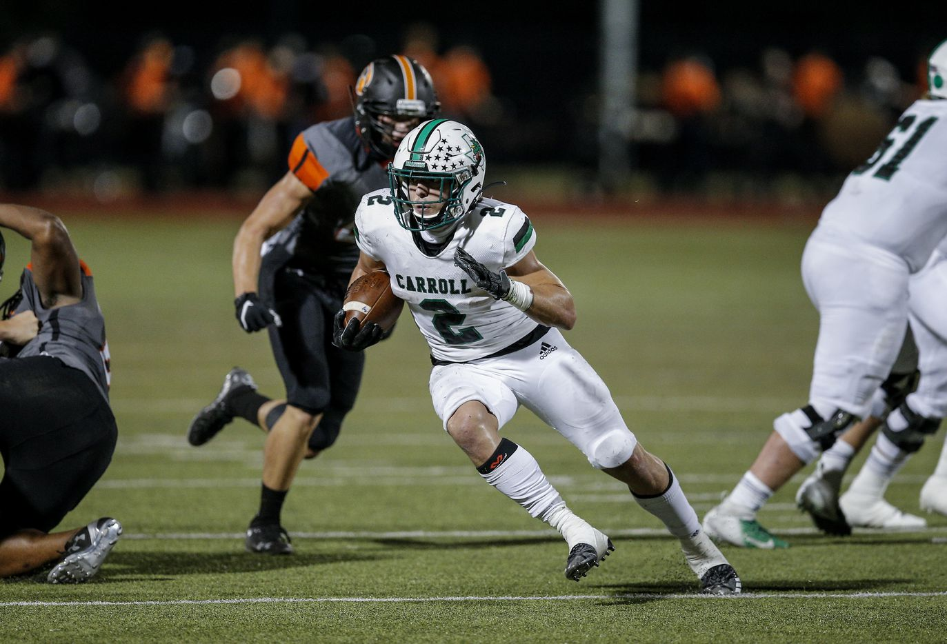 Southlake Carroll sophomore running back Owen Allen (2) carries the ball during the first half of a high school football game against Rockwall at Wilkerson-Sanders Stadium in Rockwall, Thursday, October 8, 2020. (Brandon Wade/Special Contributor)