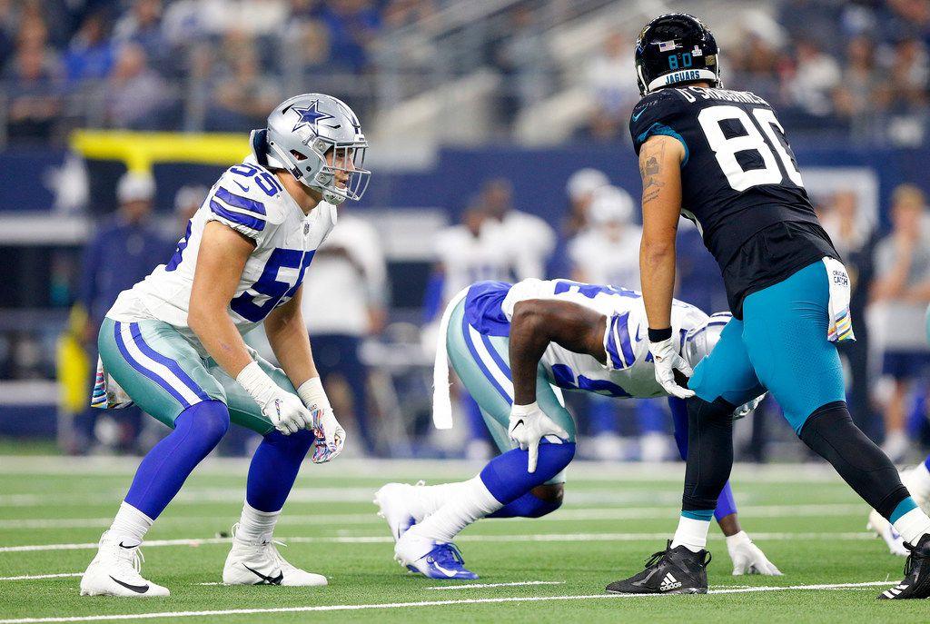 FILE - Cowboys linebacker Leighton Vander Esch (55) lines up against Jacksonville Jaguars tight end James O'Shaughnessy (80) at AT&T Stadium in Arlington, Texas, Sunday, October 14, 2018. (Tom Fox/The Dallas Morning News)