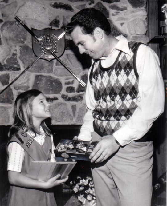 Jennifer Staubach and dad Roger Staubach struck a pose for a story on Girl Scout cookies in 1975. The photo was on the cover of Jennifer Staubach Gates' campaign flyer for Dallas City Council.