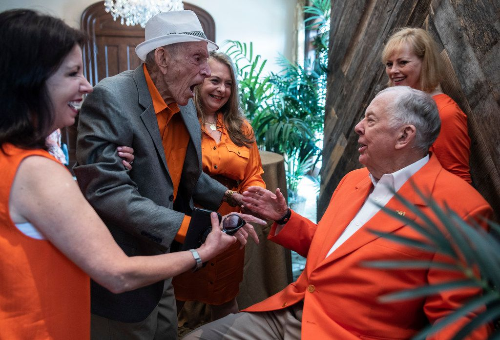 Jim Moeller, left, greets T. Boone Pickens.  They went to junior high together in Holdenville, Okla.